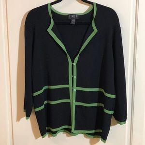 FINITY WOMAN Cardigan Black Green Sz 1X EUC